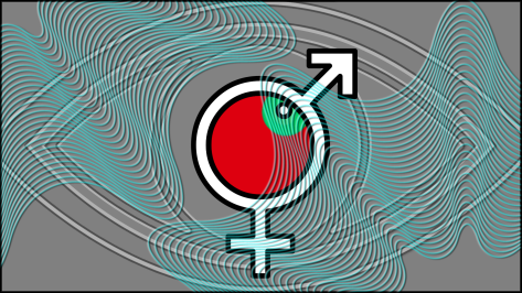 FEMALE-MALE SYMBOLS MERGED OVER EYE DESIGN WITH BRUSH WAVES-V-1B